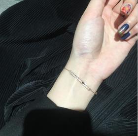 【首饰】个性方形镂空锆石手链女小众设计学生玫瑰金韩国简约百搭