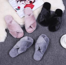 【拖鞋】冬季居家拖鞋毛绒拖鞋防滑室内棉拖鞋 交叉款毛毛拖鞋女