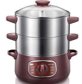 【电蒸锅】量大优惠小熊电蒸锅DZG-D80A1电蒸笼不锈钢两层定时电火锅