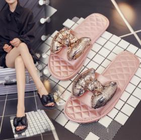 【拖鞋】新款韩版丝绸拖鞋高档会所拖鞋女软底平跟居家拖鞋