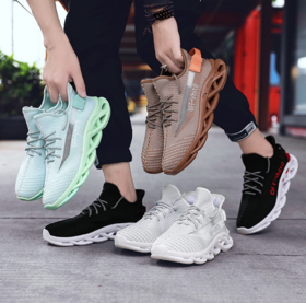 【跑步鞋】新款椰子鞋老爹鞋男2019夏款飞织网面男反光运动跑步休闲鞋子