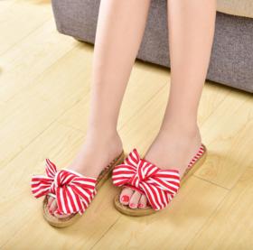 【拖鞋】新款条纹帆布凉拖鞋 夏季拖鞋女 学生可爱平底拖鞋