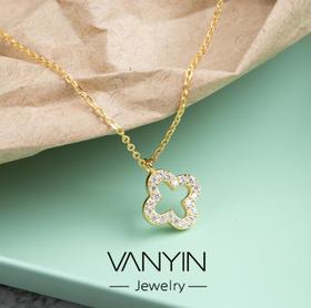【首饰】镶钻四叶草一体链S925纯银项链创意饰品