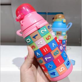 【婴儿用品】秋冬新可婴幼儿数字卡通不锈钢保温杯儿童新款手提吸管杯