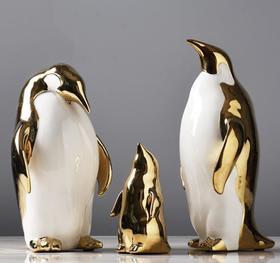 【装饰品】金色企鹅陶瓷摆件