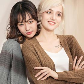 澳洲美丽诺羊毛小外套针织开衫  秋冬百搭复古时髦舒适有风度女