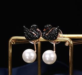 【首饰】玫瑰金黑天鹅珍珠后挂式珍珠耳钉一款两戴天鹅耳环