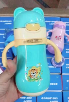 【婴儿用品】宝宝两用不锈钢吸管杯奶瓶316不锈钢儿童保温奶瓶水杯