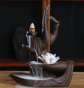 【装饰品】倒流香炉创意件陶瓷佛手莲花