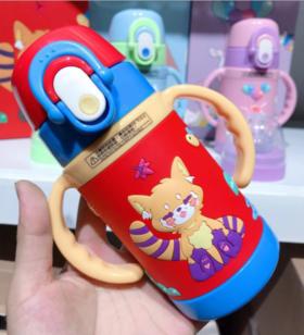 【婴儿用品】立体硅胶婴幼儿奶嘴吸管两用保温杯礼盒装260毫升