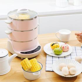 【电蒸锅】小熊电蒸锅不锈钢双层多功能电热锅蒸煮两用煮蛋器 DZG-D40A1