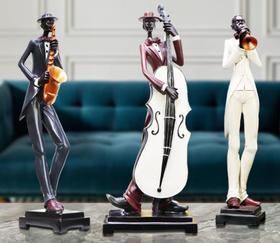 【装饰品】三人爵士乐队树脂工艺品摆件
