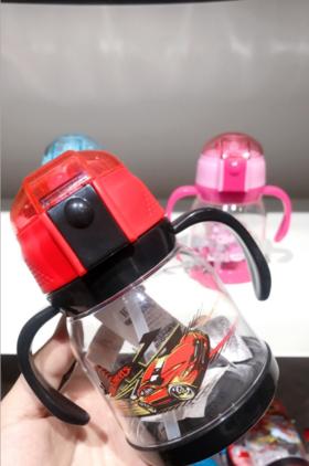 【婴儿用品】欢诺芭比仙子婴幼儿新款吸管杯宝宝带手柄弹盖吸水杯水壶