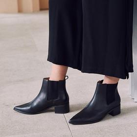 【为舒适而生】WAYNE FLEX 韦恩 6097鹿皮内里 尖头切尔西靴 粗跟 马丁及踝短靴 女