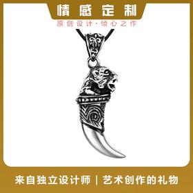 豹头狼牙*990足银立体雕刻豹头狼牙吊坠