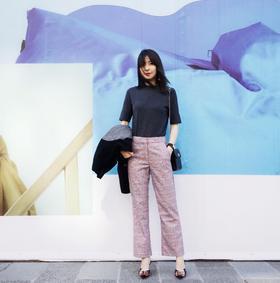 MAISON COVET自有品牌 羊毛混纺格纹西裤