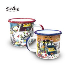网红手绘印花图案搪瓷咖啡茶马克杯