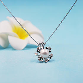 【绽放的心】天然淡水珍珠吊坠(赠银链)