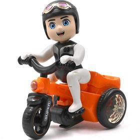 【为思礼】KIDERS 儿童男女宝益智玩具卡通特技骑三轮车秒发 橘色蓝色颜色随机