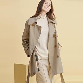 法国Soleil kim秋季外套巴黎经典风衣女中款2019新款英伦风薄系带