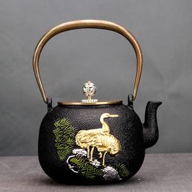 喜上眉梢铁壶茶壶居家日用日本铁壶铸铁壶鎏金生铁壶餐饮茶具