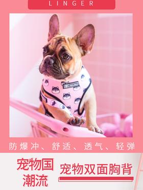 喜归 | 林格尔潮牌中小型狗狗胸背带,粉色款,多型号可选