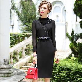 【清仓特价 不退不换】FMY25586新款跨境欧美气质修身包臀裙TZF
