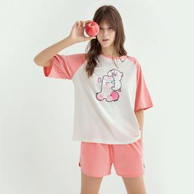润微可爱萌猪印花圆领短袖短裤夏季睡衣套装棉质外穿女士家居服 甜茶豆沙