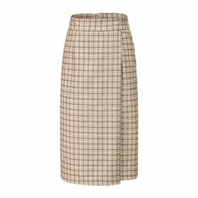 MAISON COVET自有品牌 高腰浅棕格纹半裙