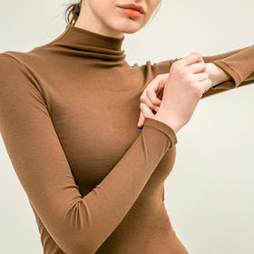UROOM中高领螺纹打底衫│高弹修身,37℃保暖,秋冬该备单品