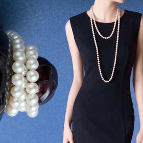 天然淡水珍珠项链长款 高贵气质款天然白色毛衣链