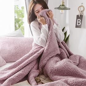 羊羔绒多功能三件套 双层加厚保暖三件套单双人枕套床单被罩毛毯子