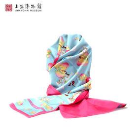 上海博物馆 粉彩蝠桃纹橄榄瓶蚕丝围巾 上海特色伴手礼长丝巾礼物