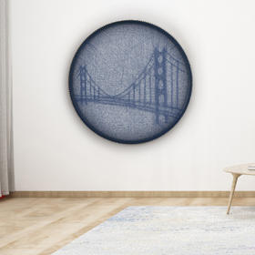 琥珀线绳画——金门大桥