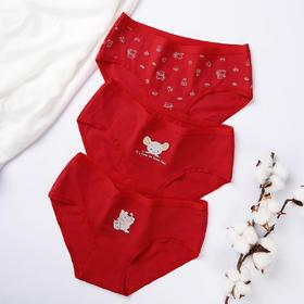 润微大红色内裤女本命年柔软舒适中腰全棉裆少女印花三角裤3条装 红情绿意