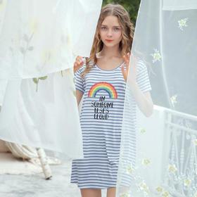 润微夏季短袖睡裙舒适透气圆领棉质可外穿家居服女士睡衣 彩虹条纹