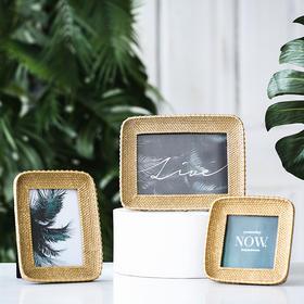 轻奢欧式创意金色4寸6寸相框摆台客厅床头柜化妆桌面装饰品摆件