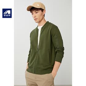 【秒杀】男装2019秋冬新款纯棉棒球领外套男士飞行员针织夹克衫2562