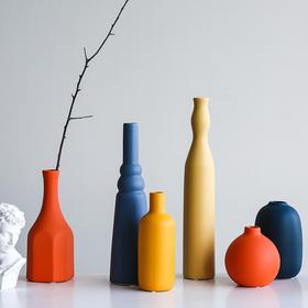 莫兰迪色北欧风格创意ins陶瓷干花花瓶 客厅插花现代简约装饰摆件