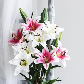 ins北欧小清新百合花仿真花假花 客厅花瓶装饰品摆件设餐桌花艺