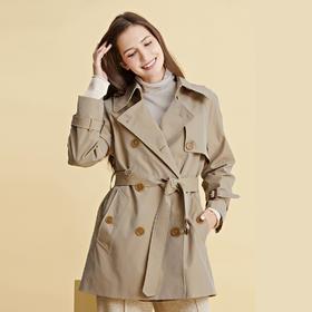 法国Soleil kim秋季外套巴黎经典女款风衣   新款英伦风薄系带,匠心工艺修身显瘦