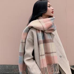 韩版日系原宿风百搭围巾女秋冬季英伦复古加厚网红款保暖学生披肩