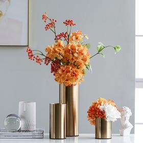 欧洲直筒金色花瓶创意轻奢风金属干花花瓶插花器家居装饰品摆件