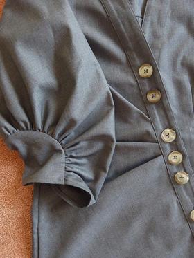 不对称建筑感灰色西装连衣裙