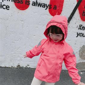 【加绒款】儿童加绒冲锋衣宝宝防水防风衣外套连帽摇粒绒外套 斜拉链款