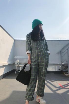 率性女神毛呢苹果绿格子工装外套