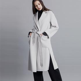 Soleil Kim 2019新款水波纹双面毛呢羊毛大衣