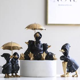 北欧风格创意轻奢黑色鸭子摆件家居饰品客厅玄关电视柜装饰小摆件