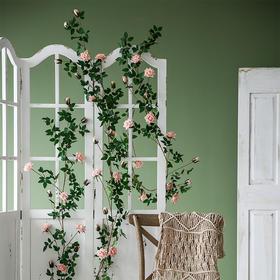 仿真玫瑰花藤条装饰吊花缠绕假花藤蔓室内塑料花空调管道遮挡植物