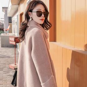 2019新款皮草 威玛仕羊剪绒大衣女颗粒羊毛皮毛一体外套中长款 女大衣